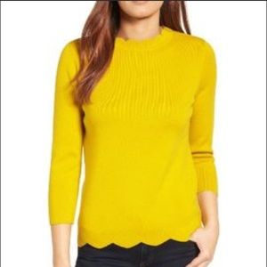 Halogen Scalloped Mustard Yellow Sweater